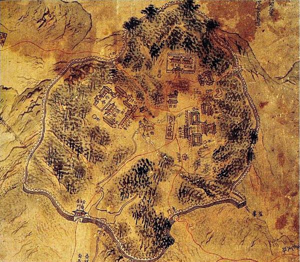 강화도 지도 병풍 제1폭 정족산성진 일대(19세기 후반, 서울대학교박물관 소장).